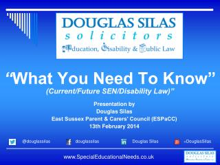 """ What You Need To Know"" (Current/Future SEN/Disability Law)"""