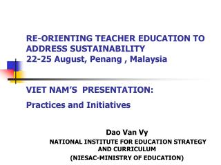Dao Van Vy  NATIONAL INSTITUTE FOR EDUCATION STRATEGY AND CURRICULUM