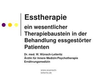 Esstherapie ein wesentlicher Therapiebaustein in der Behandlung essgestörter Patienten