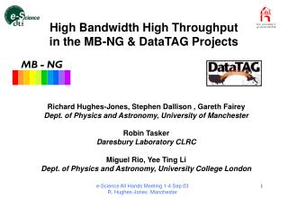 High Bandwidth High Throughput  in the MB-NG & DataTAG Projects