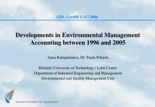 Developments in Environmental Management Accounting between 1996 and 2005