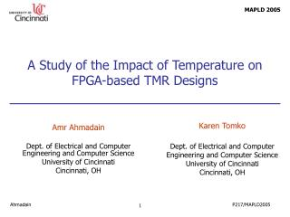 A Study of the Impact of Temperature on FPGA-based TMR Designs