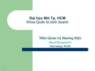 Đại học Mở Tp. HCM Khoa Quản trị kinh doanh
