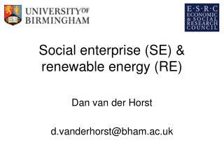 Social enterprise (SE) & renewable energy (RE)