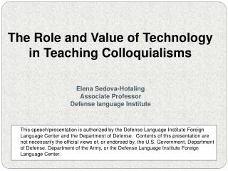 The Role and Value of Technology  in Teaching Colloquialisms