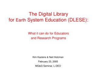The Digital Library  for  Earth  System Education (DLESE):