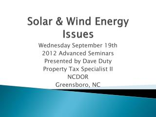 Solar & Wind Energy Issues