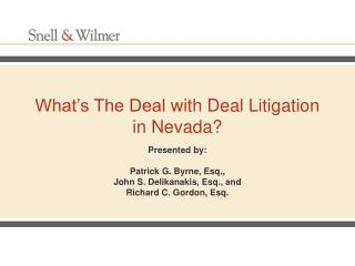 What�s The Deal with Deal Litigation in Nevada?