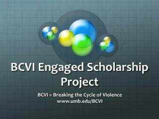 BCVI Engaged Scholarship Project