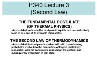 P340 Lecture 3 (Second Law)