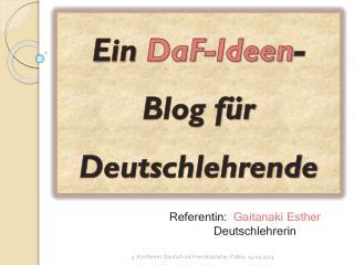 Ein  DaF -Ideen -Blog für    Deutschlehrende