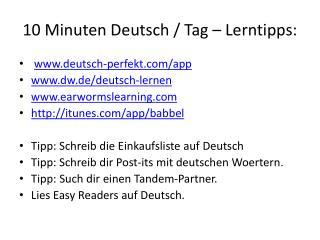 10 Minuten Deutsch / Tag – Lerntipps: