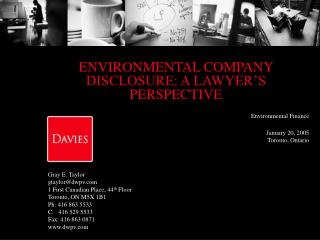 ENVIRONMENTAL COMPANY  DISCLOSURE: A LAWYER'S PERSPECTIVE
