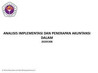 ANALISIS IMPLEMENTASI DAN PENERAPAN AKUNTANSI DALAM 20205308