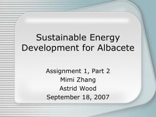 Sustainable Energy Development for Albacete