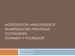 Modélisation analogique et numérique des processus plutoniques:  comment ? Pourquoi?