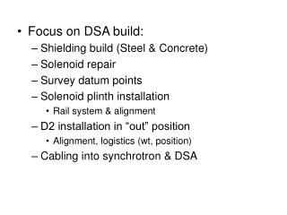 Focus on DSA build: Shielding build (Steel & Concrete) Solenoid repair Survey datum points