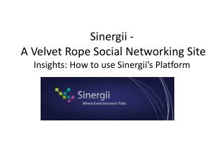 Sinergii -  A Velvet Rope Social Networking Site  Insights: How to use Sinergii's Platform
