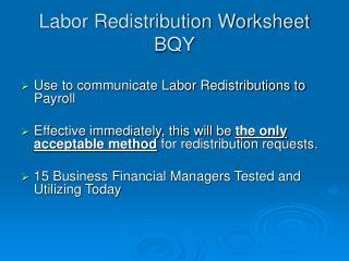 Labor Redistribution Worksheet BQY