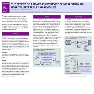 THE EFFECT OF A HEART ASSIST DEVICE CLINICAL STUDY ON HOSPITAL REFERRALS AND REVENUES