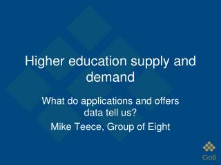 Higher education supply and demand