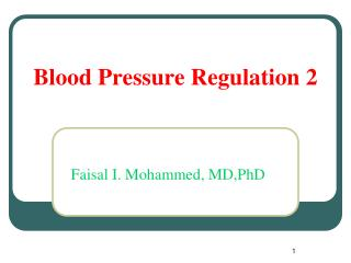 Blood Pressure Regulation 2