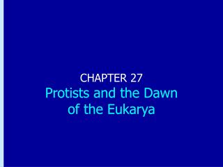 CHAPTER 27 Protists and the Dawn  of the Eukarya