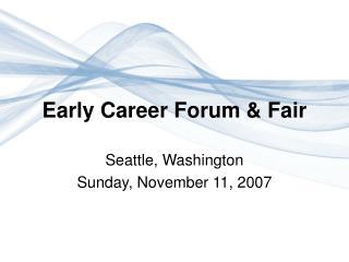 Early Career Forum & Fair