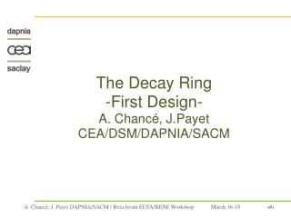 The Decay Ring  -First Design- A. Chanc�, J.Payet CEA/DSM/DAPNIA/SACM