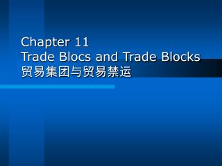 Chapter 11 Trade Blocs and Trade Blocks 贸易集团与贸易禁运