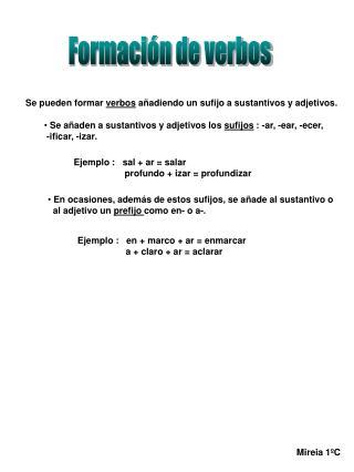 Formación de verbos