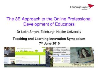 The 3E Approach to the Online Professional Development of Educators