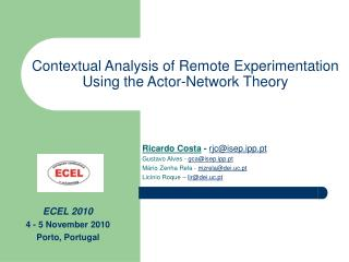 Contextual Analysis of Remote Experimentation  Using the Actor-Network Theory