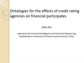 Ontologies for the effects of credit rating agencies on financial participates