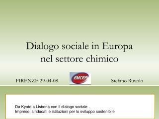 Dialogo sociale in Europa  nel settore chimico  FIRENZE 29-04-08Stefano Ruvolo