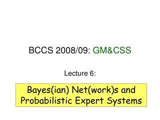 BCCS 2008/09:  GM&CSS