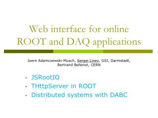 Web  interface for online ROOT and  DAQ applications