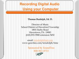 Recording Digital Audio   Using your Computer