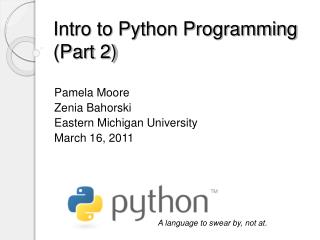 Intro to Python Programming (Part 2)