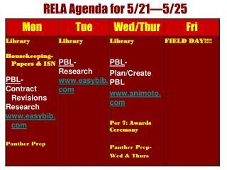 RELA Agenda for 5/21—5/25
