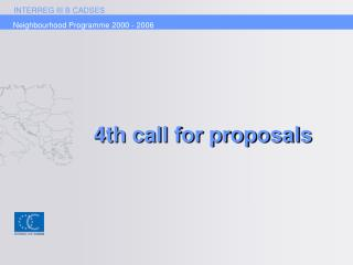 4th call for proposals