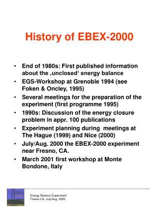 History of EBEX-2000