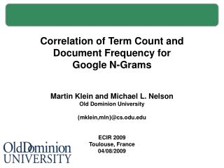 Correlation of Term Count and Document Frequency for Google N-Grams