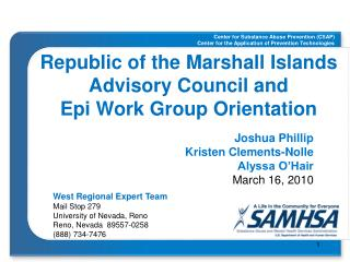 Republic of the Marshall Islands Advisory Council and  Epi Work Group Orientation