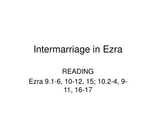 Intermarriage in Ezra
