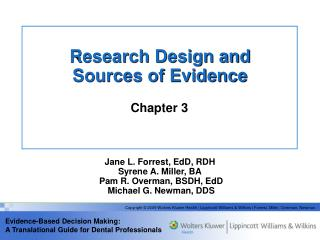 Research Design and  Sources of Evidence