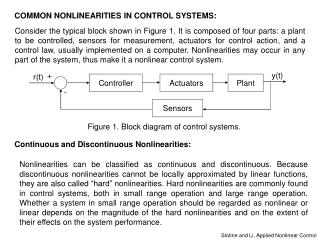 COMMON NONLINEARITIES IN CONTROL SYSTEMS: