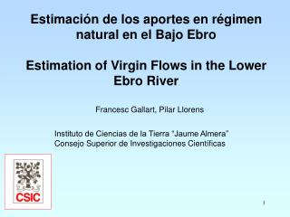 Estimación de los aportes en régimen natural en el Bajo Ebro