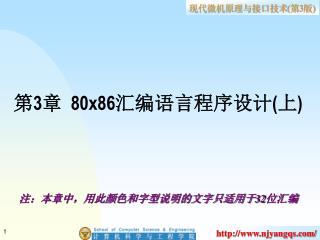 第 3 章   80x86 汇编语言程序设计 ( 上 )