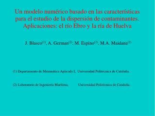 J. Blasco (1) , A. German (2) , M. Espino (2) , M.A. Maidana (2)